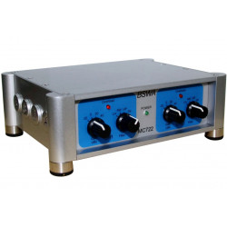 Voeding tbv voorverstereker, 2-kanaals input en output, opbrengst x0,1 / x1 / x10 en x100